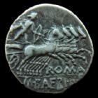 Photo numismatique  Monnaies République Romaine Baebia 137 avant Jc Denier, denar, denario, denarius Cn.BAEBIUS TAMPHILUS, Denier Rome en 137 avant Jc, quadrige, 3,44 grms, RSC.Baebia 12, Bon TTB