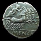 Photo numismatique  Monnaies R�publique Romaine Fannia 123 avant Jc Denier, denar, denario, denarius M.FANNIUS, Denier Rome en 123 avant Jc, Quadrige, 3,93 grms, RSC.Fannia 1 SUPERBE/TTB+