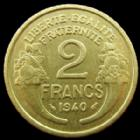Photo numismatique  Monnaies Monnaies Françaises Troisième République 2 Francs 2 francs Morlon 1940, G.535 TTB à SUPERBE