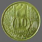 Photo numismatique  Monnaies Anciennes colonies Françaises Madagascar 10 Francs MADAGASCAR, 10 francs