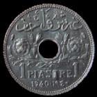 Photo numismatique  Monnaies Anciennes colonies Françaises Liban protectorat Piastre LIBAN, LEBANON, protectorat, 1 piastre 1940, zinc, LEC.16 SUPERBE+