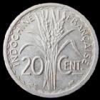 Photo numismatique  Monnaies Anciennes colonies Françaises Indochine 20 Cmes Indochine Française, 20 centimes 1945 C, LEC.253 TTB