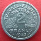 Photo numismatique  Monnaies Monnaies Françaises Etat Français 2 Francs 2 francs Bazor 1943 aluminium, G.536 SUPERBE+