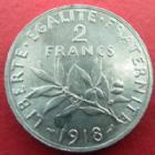 Photo numismatique  Monnaies Monnaies Françaises Troisième République 2 Francs 2 francs Semeuse de Roty 1918, G.532 SUPERBE Trace au revers