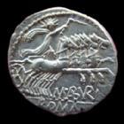Photo numismatique  Monnaies R�publique Romaine Aburia 132 av Jc Denier, denar, denario, denarius ABURIA, ABURIUS GEMINUS, denier Rome en 132 avant Jc, quadrige conduit par le soleil, 3,96 grms, SYD.487 SUPERBE+