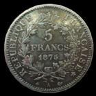 Photo numismatique  Monnaies Monnaies Françaises Troisième République 5 Francs 5 francs Hercule 1875 grand A, G.745a petits coups sinon TTB/TTB+
