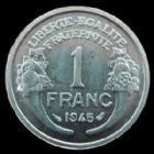 Photo numismatique  Monnaies Monnaies Françaises Gouvernement Provisoire 1 Franc 1 Franc Morlon aluminium 1945, G.473a SUPERBE+