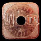 Photo numismatique  Monnaies Monnaies de nécéssité Nantes 20 Centimes NANTES, Tramways, 20 centimes, contremarque TN dans un ovale, E.75.4 SUPERBE