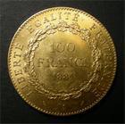 Photo numismatique  Monnaies Monnaies Françaises Troisième République 100 Francs or Troisième République, 100 Francs or type génie, 1881 A, Gadoury 1137 TTB+