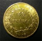 Photo numismatique  Monnaies Monnaies Françaises 1er Empire 40 Francs or NAPOLEON Ier, AN 13 A, 40 Francs or, tête nue, Napoléon empereur, Gadoury 1081 TTB