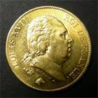 Photo numismatique  Monnaies Monnaies Fran�aises Louis XVIII 40 Francs or LOUIS XVIII, 40 Francs or, 1820 A, Vari�t� 2 sur 1, 2�me exemplaires connus !!!!!! Gadoury 1092 Variante  R!R!R!