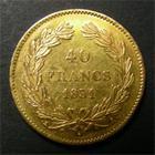 Photo numismatique  Monnaies Monnaies Fran�aises Louis Philippe 40 Francs or LOUIS PHILIPPE Ier, 40 Francs or 1831 A, Gadoury 1106 TTB+