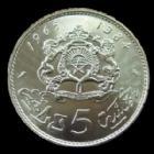 Photo numismatique  Monnaies Monnaies étrangères Maroc, Morocco 5 Dirhams MAROC, MOROCCO, Hassan II, 5 dirhams 1965 (1384), argent 720°/°° 11,75 grms, KM.57 FDC