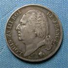 Photo numismatique  Monnaies Monnaies Fran�aises Louis XVIII 1 Franc LOUIS XVIII 1824 A, 1 Franc, Gadoury 449 TTB+ Belle patine!!