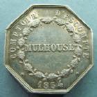 Photo numismatique  Monnaies Monnaies/medailles d'Alsace Mulhouse Jeton de présence, Mulhouse MULHOUSE, MULHAUSEN i.e, 1854 jeton de présence comptoir d'escompte, jeton octogonale en argent de 23x23 mm, Caqué F, Schoen 50, TTB+