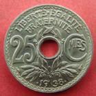 Photo numismatique  Monnaies Monnaies Françaises Troisième République 25 centimes Lindauer 25 centimes Lindauer .1938., G.381 petites tâche au revers sinon FDC