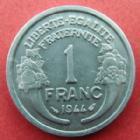 Photo numismatique  Monnaies Monnaies Françaises Gouvernement Provisoire 1 Franc 1 Franc Morlon aluminium 1944, G.473a presque SUPERBE