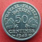 Photo numismatique  Monnaies Monnaies Françaises Etat Français 50 Centimes 50 centimes Bazor aluminium 1943, G.425 SUPERBE+