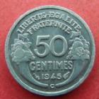 Photo numismatique  Monnaies Monnaies Françaises Gouvernement Provisoire 50 Centimes 50 centimes Morlon aluminium 1945 C, G.426a SUPERBE+