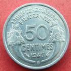 Photo numismatique  Monnaies Monnaies Françaises 4ème république 50 Centimes 50 centimes Morlon aluminium 1947 B, G.426b Presque SUPERBE/SUPERBE+