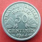 Photo numismatique  Monnaies Monnaies Françaises Etat Français 50 Centimes 50 centimes Bazor aluminium 1944 B, G.425 SUPERBE