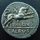 Photo numismatique  Monnaies République Romaine Thoria 105 avant Jc Denier, denar, denario, denarius L.THORIUS BALBUS, denier Rome en 105 avant JC, tête de Juno Sospita, Taureau chargeant à droite, 3,95 grms, RSC. Thoria 1, Sear 192, TTB à SUPERBE