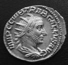 Photo numismatique  Monnaies Empire Romain TREBONIEN GALLE, TREBONIANUS GALLUS, TREBONIANO GALLO Antoninien, antoninianus, antoniniane TREBONIEN GALLE, TREBONIANUS GALLUS, antoninien Rome ou Médiolanum en 251-253, Ivno Martialis, 3,45 g, RIC 69, SUP+/TTB très beau portrait!