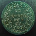 Photo numismatique  Monnaies Monnaies Françaises 1er Empire Un Décime NAPOLEON Ier, les cents jours, un décime 1814 BB sans points, (pas de trou à l'avers! Ne traverse pas, défault de flan!)19,57 grms, G.195a TB+/TTB