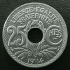 Photo numismatique  Monnaies Monnaies Françaises Troisième République 25 centimes Lindauer 25 centimes Lindauer 1914 cmes souligné, G.379 SUPERBE+