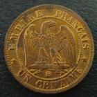 Photo numismatique  Monnaies Monnaies Françaises Second Empire 1 Centime NAPOLEON III, 1 centime 1861 BB Strasbourg, G.87 SUPERBE