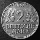 Photo numismatique  Monnaies Allemagne après 1871 Allemagne, Deutschland, Germany 2 mark, Zwei mark 2 Mark 1951 G, J.386 TTB à SUPERBE