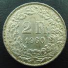 Photo numismatique  Monnaies Monnaies étrangères SUISSE, SCHWEIZ, SWITZERLAND 2 Francs Suisse, Switzerland, Schweiz, 2 francs 1960 B, petites tâches à nettoyer sinon TTB+