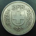 Photo numismatique  Monnaies Monnaies étrangères SUISSE, SCHWEIZ, SWITZERLAND 5 Francs Suisse, Switzerland, Schweiz, 5 francs 1932 B, TB à TTB