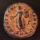 Photo numismatique  Monnaies Empire Romain MAXIMIN II, DAZA, MAXIMINUS II, DAIA, MAXIMINO II Nummus, Kleine bronze, nummi Antioche sous Maximin II, AE 15 mm, nummus, Genio Antiocheni, Apolloni Sancto, SMA, Mc Alee 170, 1,54 grms, TTB Patine