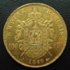 Photo numismatique  Monnaies Monnaies Françaises Second Empire 100 Francs or NAPOLEON III, 100 francs or 1869 A Paris, or 900°/°° 32,25 grms, G.1136 petites traces de nettoyage sinon P.SUPERBE