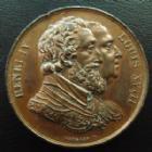 Photo numismatique  Monnaies Médailles Médaille, Roi, Reine Médaille bronze HENRI IV et LOUIS XVIII, médaille en bronze 32,2 mm (sans poinçon), signé Gayrard F., petits coups sinon TTB+