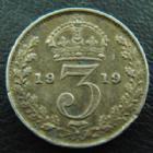 Photo numismatique  Monnaies Monnaies étrangères Grande Bretagne, Great Britain, Angleterre 4 Pences Grande Bretagne, Greet Britain, Georges V, 3 pences 1919, TB à TTB