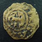 Photo numismatique  Monnaies Monnaies Féodales Anjou Faux denier d'époque ANJOU, faux denier d'époque en cuivre, imitation de Foulques V, type Bd.153 TB R!