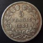 Photo numismatique  Monnaies Monnaies Françaises Louis Philippe 5 Francs LOUIS PHILIPPE I, 5 francs 1841 BB Strasbourg, G.678 TB+