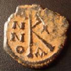 Photo numismatique  Monnaies Monnaies Byzantines Mauricius Tiberius, Maurice Tibère 1/2 Follis MAURICE TIBERE, MAURICIUS TIBERIUS, 1/2 follis  582-602, 23 mm, 6,21 grms, S.497 TB+