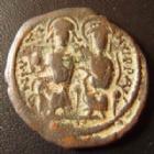 Photo numismatique  Monnaies Monnaies Byzantines Justin II et Sophia Follis JUSTIN II et SOPHIA, JUSTINUS II, SOPHIA, follis Nicomedie en 565-578, ANNO XII 576-577, 30 mm, S.372 TB à TTB
