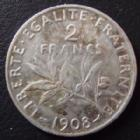 Photo numismatique  Monnaies Monnaies Françaises Troisième République 2 Francs 2 Francs Semeuse de Roty 1908, G.532 TTB