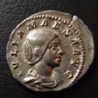 Photo numismatique  Monnaies Empire Romain JULIA MAESA, IULIA MAESA Denier, denar, denario, denarius JULIA MAESA, IVLIA MAESA, denier Rome en 218-222, PUDICITIA, 2,67 grms, RIC 268 TTB+/TTB