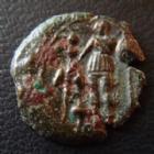 Photo numismatique  Monnaies Monnaies Gauloises Arverni, Arvernes Bronze EPAD ARVERNES, ARVERNI, Après 52 avant JC, bronze EPAD au guerrier et enseignes, 1,92 grms, DT.3607 TB+ Rare!