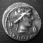 Photo numismatique  Monnaies République Romaine Furia 63 avant Jc Denier, denar, denario, denarius L.FURIUS, Cn.f BROCCHUS, FURIA, denier Rome en 63 avant JC, buste de Cérès, Chaise curule, 18 mm, 3,92 grms, RSC.23 TTB+