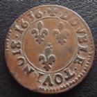 Photo numismatique  Monnaies Monnaies Royales Louis XIII Double tournois de Navarre LOUIS XIII, double tournois de Navarre, 1636 St Palais, variété avec coin ébrêché - cassure de coin, millésime très rare! 3,27 g, L4L.54 R5! TTB R!R