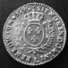 Photo numismatique  Monnaies Monnaies Royales Louis XVI 1/10 d'Ecu aux branches d'olivier, buste habillé LOUIS XVI, 1/10 d'Ecu aux branche d'olivier, 1790 L Bayonne, 2,87 grms, ray. d'ajustage à l'avers, beaux restes de brillant, TTB à SUP/SUP+