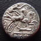 Photo numismatique  Monnaies République Romaine Cipia 115 av jc Denier, denar, denario, denarius M.CIPIUS M.f, denier Rome en 115-114 avant JC, Bige à droite, 16 mm, 3,71 grms, RSC.Cipia 1 traces de néttoyage sinon TB à TTB