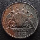 Photo numismatique  Monnaies Allemagne avant 1871 Allemagne, Deutschland, Baden, Bade 1/2 Kreuzer BADEN, Friedrich I, 1/2 kreuzer 1865, J.80 SUPERBE+