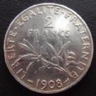 Photo numismatique  Monnaies Monnaies Françaises Troisième République 2 Francs 2 Francs Semeuse de Roty 1908, G.532 petit coup sur listel sinon TTB